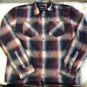 Prana light weight plaid athletic button up
